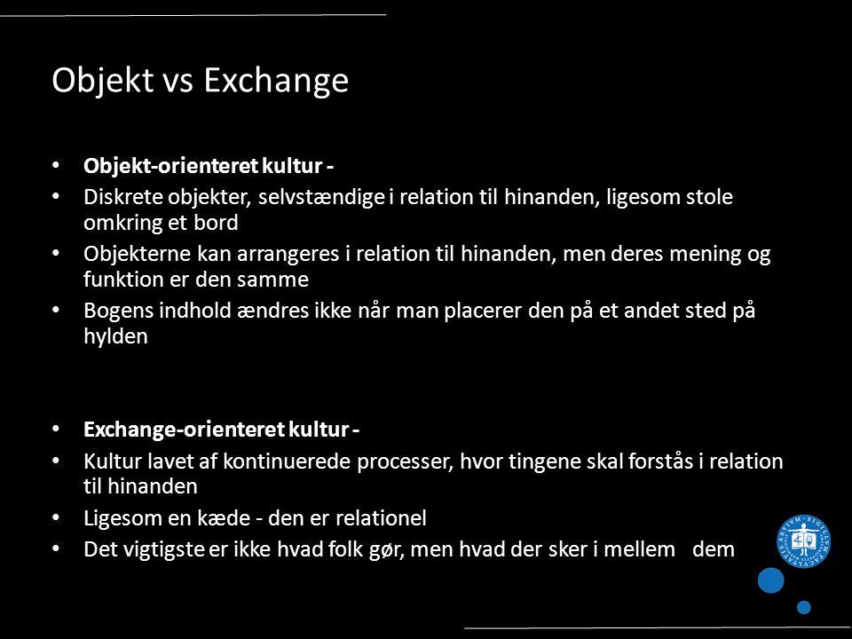 Objekt vs Exchange Objekt-orienteret kultur - Diskrete objekter, selvstændige i relation til hinanden, ligesom stole omkring et bord Objekterne kan arrangeres i relation til hinanden, men deres mening og funktion er den samme Bogens indhold ændres ikke når man placerer den på et andet sted på hylden Exchange-orienteret kultur - Kultur lavet af kontinuerede processer, hvor tingene skal forstås i relation til hinanden Ligesom en kæde - den er relationel Det vigtigste er ikke hvad folk gør, men hvad der sker i mellem dem