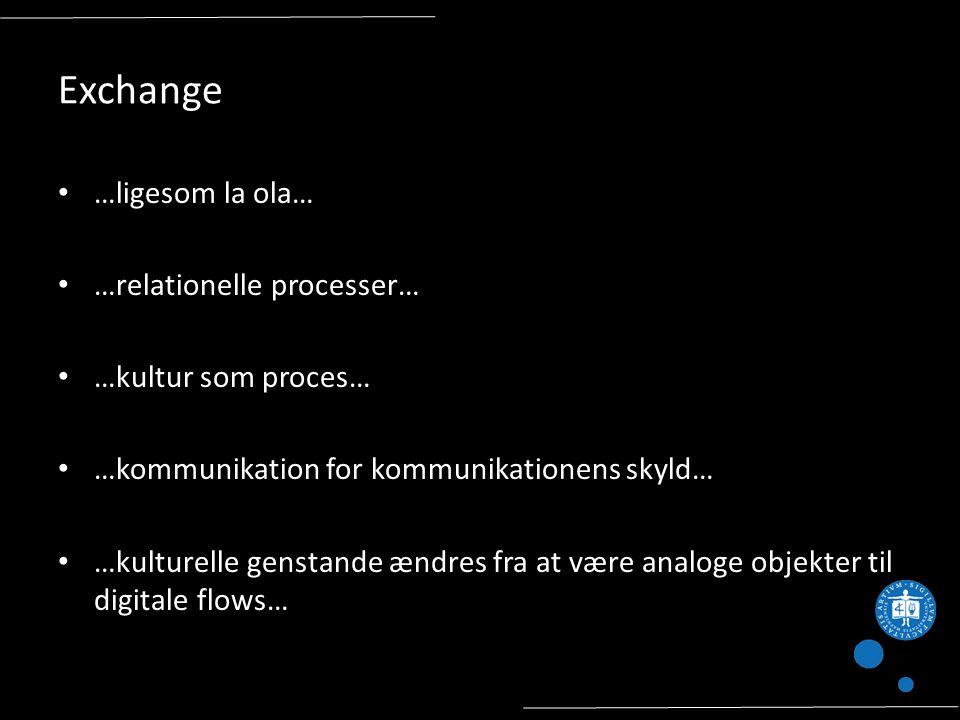 Exchange …ligesom la ola… …relationelle processer… …kultur som proces… …kommunikation for kommunikationens skyld… …kulturelle genstande ændres fra at være analoge objekter til digitale flows…