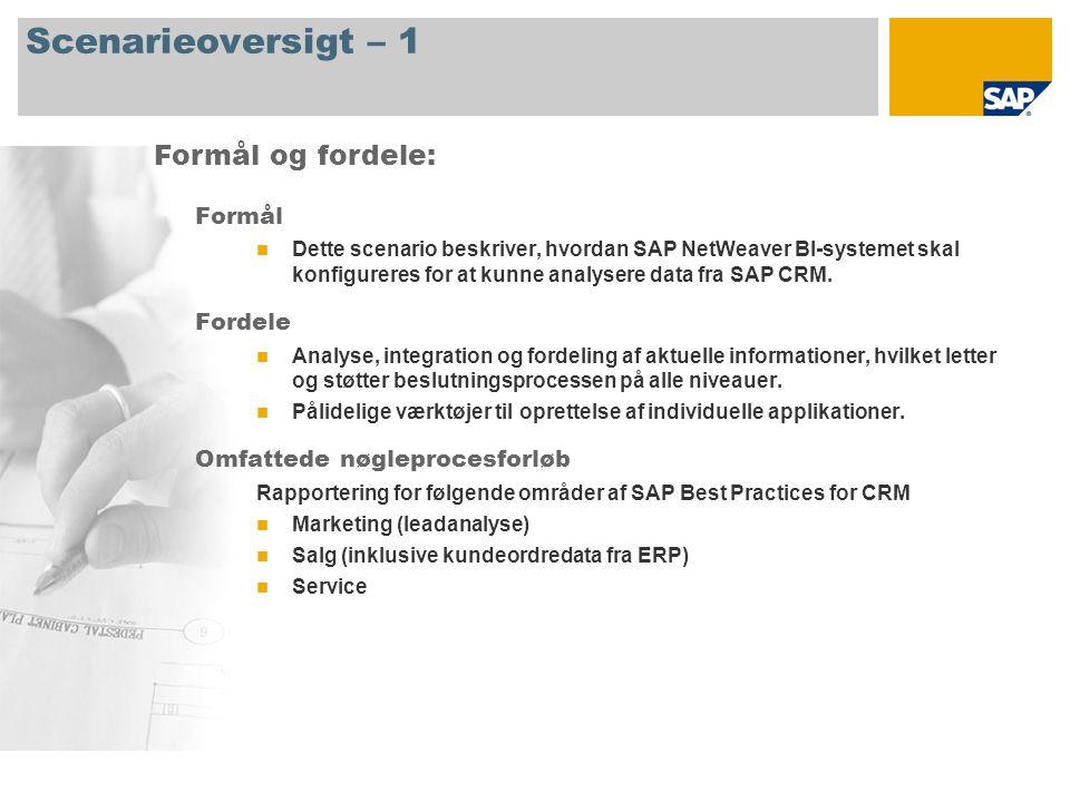 Scenarieoversigt – 1 Formål Dette scenario beskriver, hvordan SAP NetWeaver BI-systemet skal konfigureres for at kunne analysere data fra SAP CRM.
