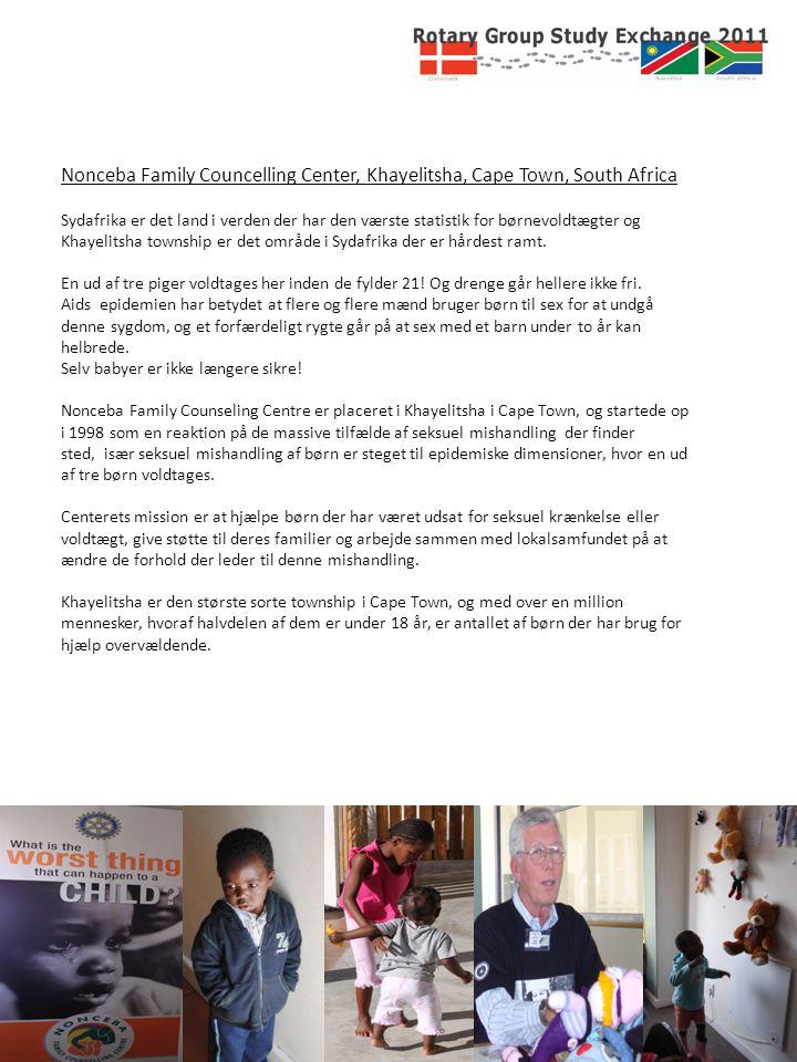 Nonceba Family Councelling Center, Khayelitsha, Cape Town, South Africa Sydafrika er det land i verden der har den værste statistik for børnevoldtægter og Khayelitsha township er det område i Sydafrika der er hårdest ramt.