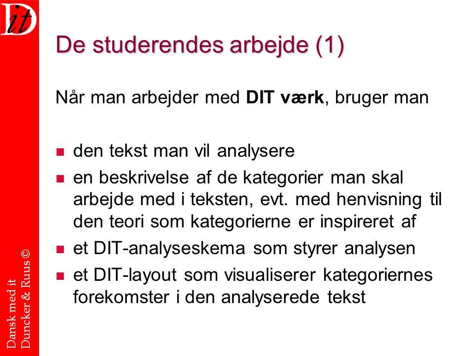 Dansk med it Duncker & Ruus © De studerendes arbejde (1) Når man arbejder med DIT værk, bruger man den tekst man vil analysere en beskrivelse af de kategorier man skal arbejde med i teksten, evt.