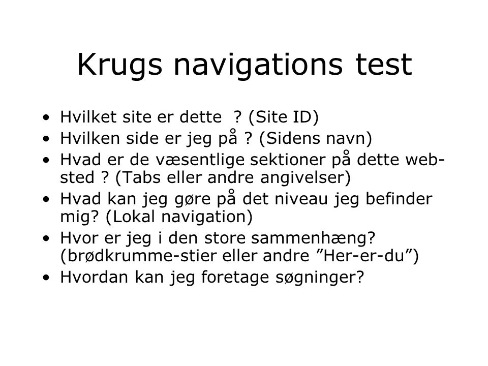 Krugs navigations test Hvilket site er dette . (Site ID) Hvilken side er jeg på .