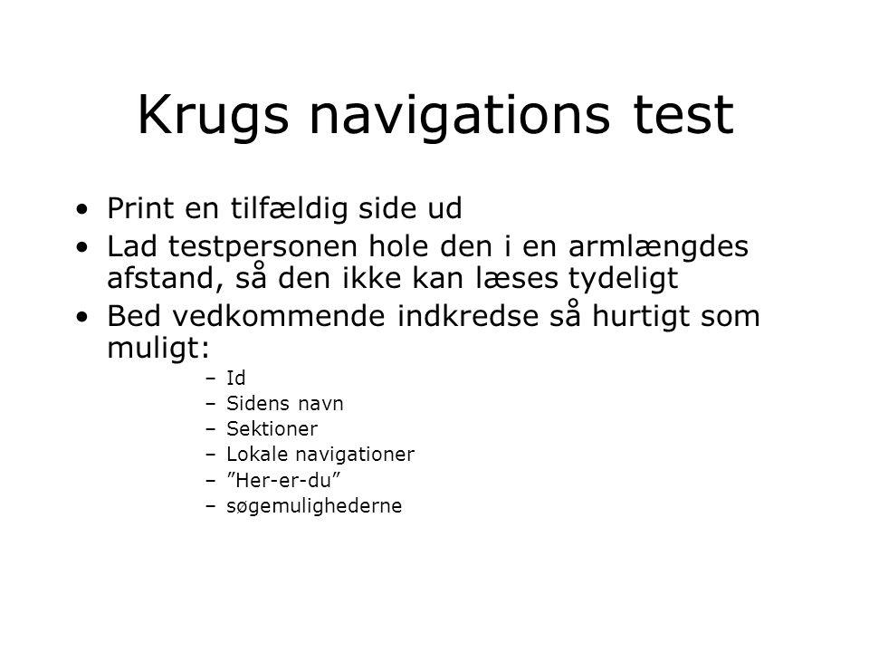 Krugs navigations test Print en tilfældig side ud Lad testpersonen hole den i en armlængdes afstand, så den ikke kan læses tydeligt Bed vedkommende indkredse så hurtigt som muligt: –Id –Sidens navn –Sektioner –Lokale navigationer – Her-er-du –søgemulighederne