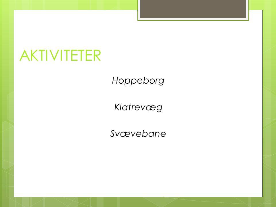 AKTIVITETER Hoppeborg Klatrevæg Svævebane