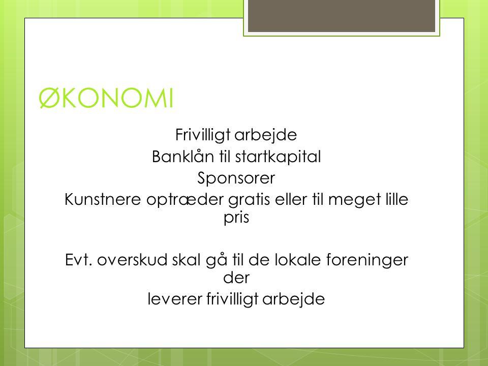 ØKONOMI Frivilligt arbejde Banklån til startkapital Sponsorer Kunstnere optræder gratis eller til meget lille pris Evt.