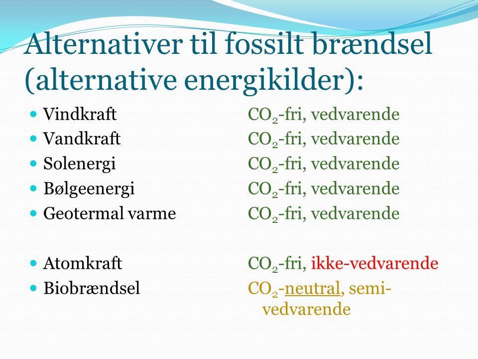 Alternativer til fossilt brændsel (alternative energikilder): Vindkraft Vandkraft Solenergi Bølgeenergi Geotermal varme Atomkraft Biobrændsel CO 2 -fri, vedvarende CO 2 -fri, ikke-vedvarende CO 2 -neutral, semi- vedvarende