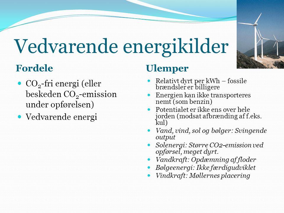 Vedvarende energikilder Fordele Ulemper CO 2 -fri energi (eller beskeden CO 2 -emission under opførelsen) Vedvarende energi Relativt dyrt per kWh – fossile brændsler er billigere Energien kan ikke transporteres nemt (som benzin) Potentialet er ikke ens over hele jorden (modsat afbrænding af f.eks.