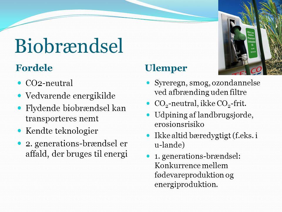 Atomenergi Fordele Ulemper CO 2 -frit kraftværk Baseret på en ikke- vedvarende, men ret udbredt og stor ressource (uran) Kendt teknologi Kølevand til fjernvarme Relativt få alvorlige uheld, færre dødsfald end ved kulminer, dæmningsbrud eller gaseksplosioner Relativt dyrt uden subsidier Stort energi (CO 2 )- og vandforbrug ved uranminer Ineffektiv udnyttelse af energien (ca.
