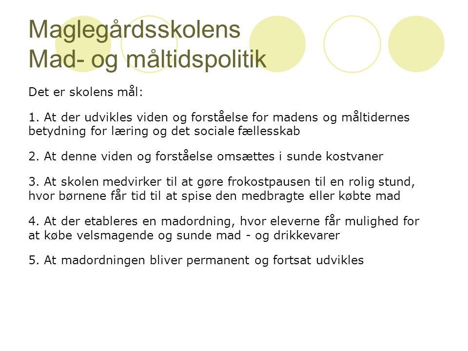 Maglegårdsskolens Mad- og måltidspolitik Det er skolens mål: 1.