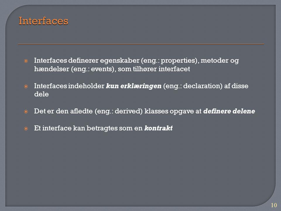 10  Interfaces definerer egenskaber (eng.: properties), metoder og hændelser (eng.: events), som tilhører interfacet  Interfaces indeholder kun erklæringen (eng.: declaration) af disse dele  Det er den afledte (eng.: derived) klasses opgave at definere delene  Et interface kan betragtes som en kontrakt