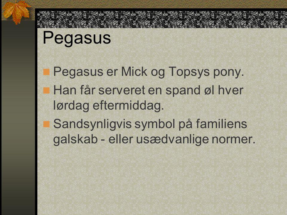 Pegasus Pegasus er Mick og Topsys pony.Han får serveret en spand øl hver lørdag eftermiddag.