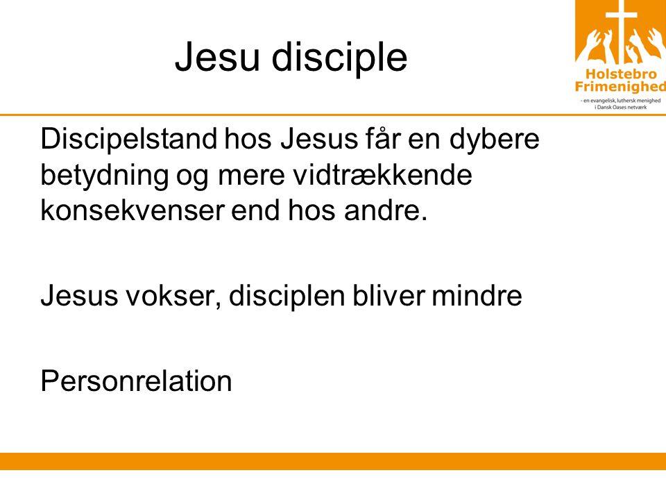 Jesu disciple Discipelstand hos Jesus får en dybere betydning og mere vidtrækkende konsekvenser end hos andre.
