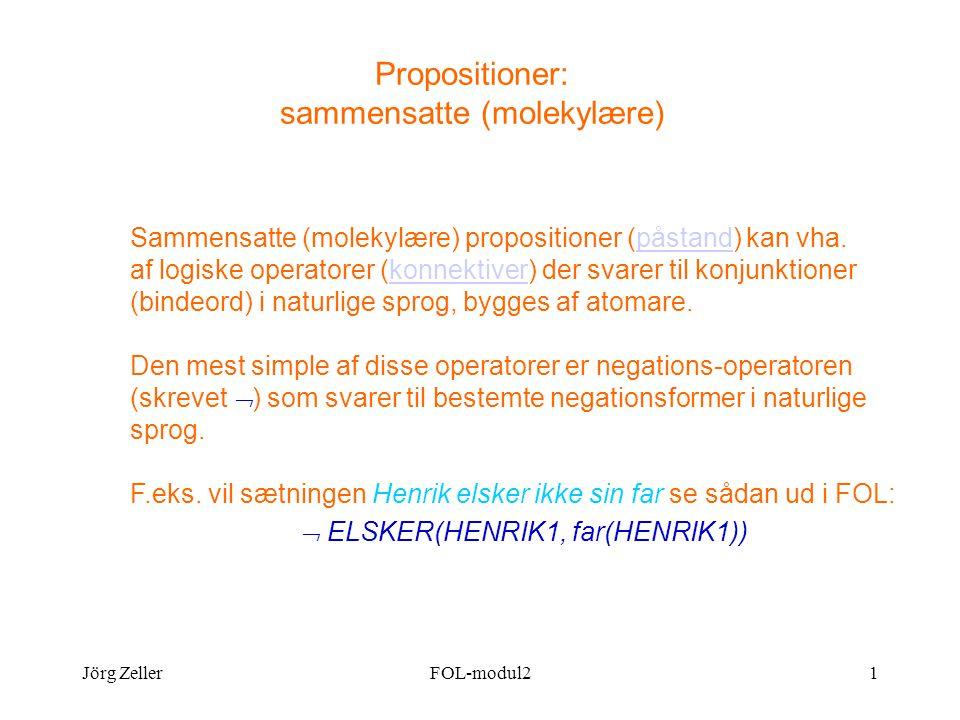Jörg ZellerFOL-modul21 Propositioner: sammensatte (molekylære) Sammensatte (molekylære) propositioner (påstand) kan vha.
