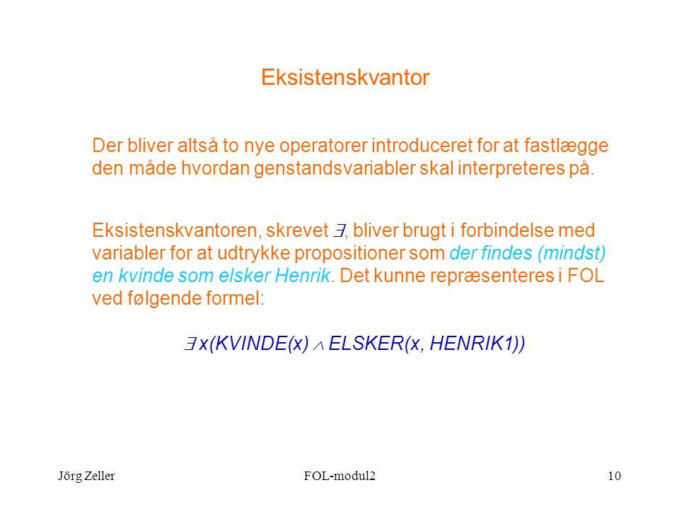 Jörg ZellerFOL-modul210 Eksistenskvantor Der bliver altså to nye operatorer introduceret for at fastlægge den måde hvordan genstandsvariabler skal interpreteres på.