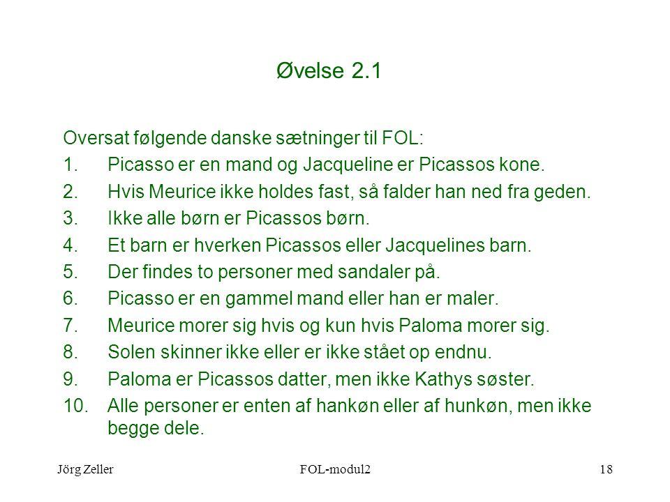 Jörg ZellerFOL-modul218 Øvelse 2.1 Oversat følgende danske sætninger til FOL: 1.Picasso er en mand og Jacqueline er Picassos kone.