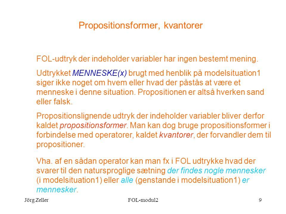 Jörg ZellerFOL-modul29 Propositionsformer, kvantorer FOL-udtryk der indeholder variabler har ingen bestemt mening.