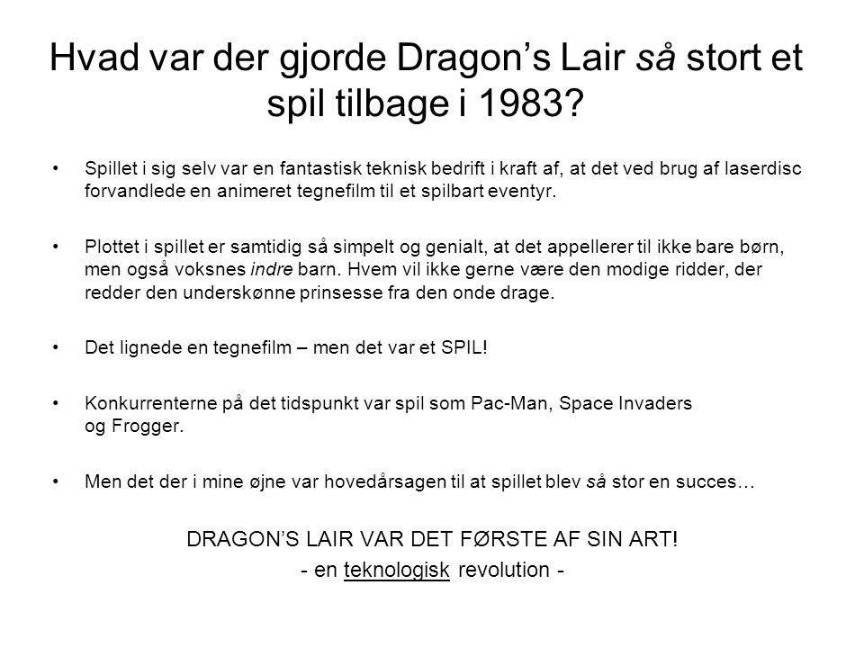 Hvad var der gjorde Dragon's Lair så stort et spil tilbage i 1983.