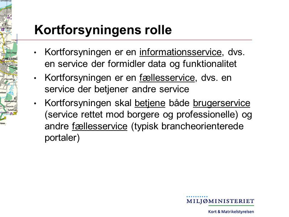 Kortforsyningens rolle Kortforsyningen er en informationsservice, dvs.