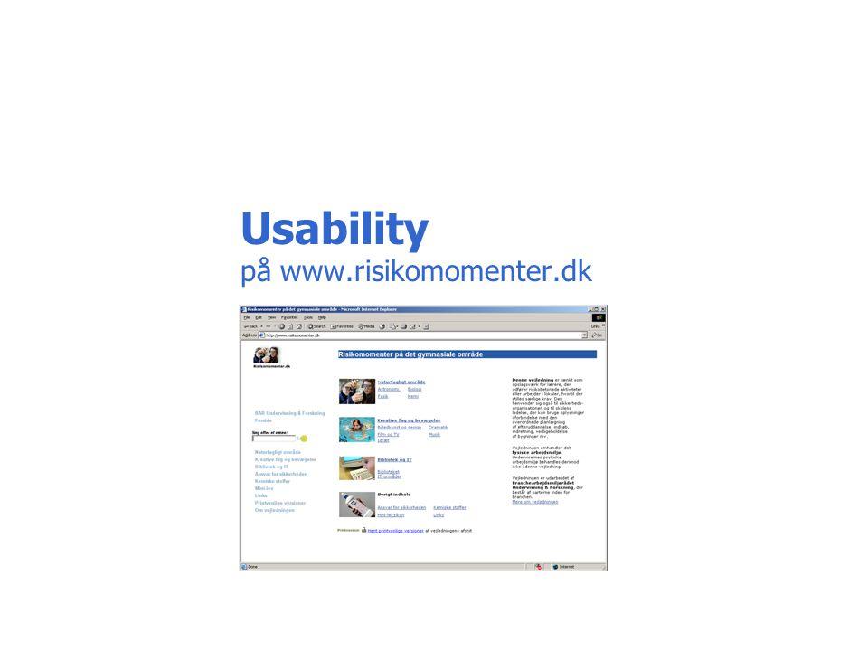 Usability på www.risikomomenter.dk