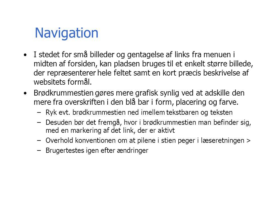 Navigation I stedet for små billeder og gentagelse af links fra menuen i midten af forsiden, kan pladsen bruges til et enkelt større billede, der repræsenterer hele feltet samt en kort præcis beskrivelse af websitets formål.