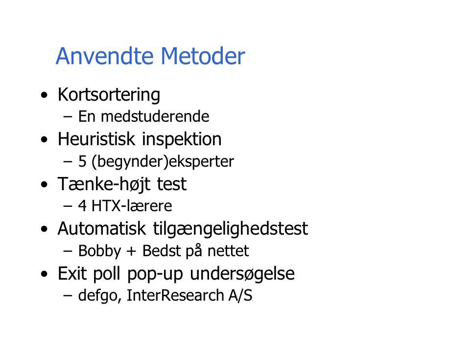 Anvendte Metoder Kortsortering –En medstuderende Heuristisk inspektion –5 (begynder)eksperter Tænke-højt test –4 HTX-lærere Automatisk tilgængelighedstest –Bobby + Bedst på nettet Exit poll pop-up undersøgelse –defgo, InterResearch A/S