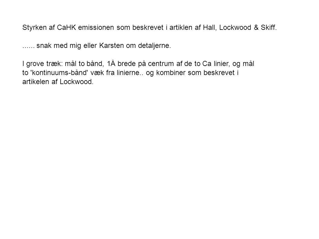 Styrken af CaHK emissionen som beskrevet i artiklen af Hall, Lockwood & Skiff.......