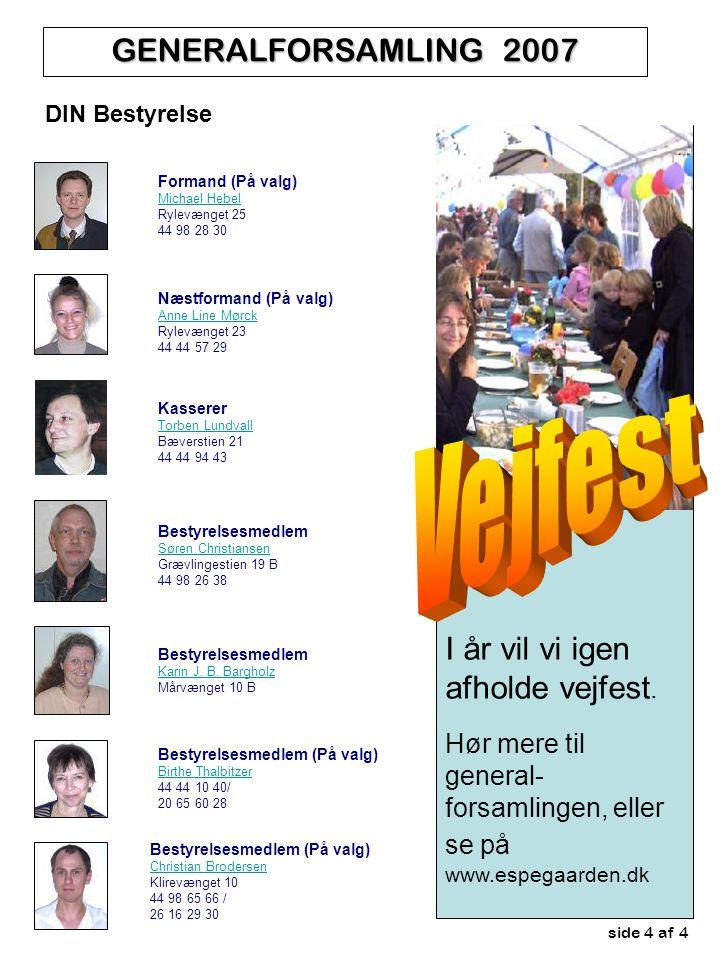 side 4 af 4 GENERALFORSAMLING 2007 DIN Bestyrelse I år vil vi igen afholde vejfest.