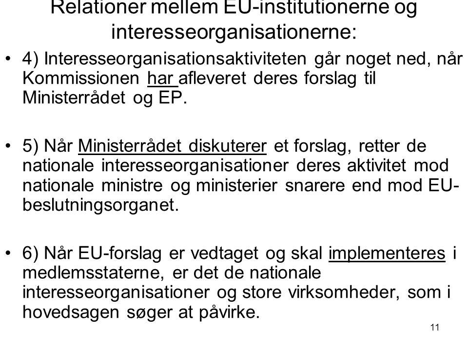 11 Relationer mellem EU-institutionerne og interesseorganisationerne: 4) Interesseorganisationsaktiviteten går noget ned, når Kommissionen har afleveret deres forslag til Ministerrådet og EP.