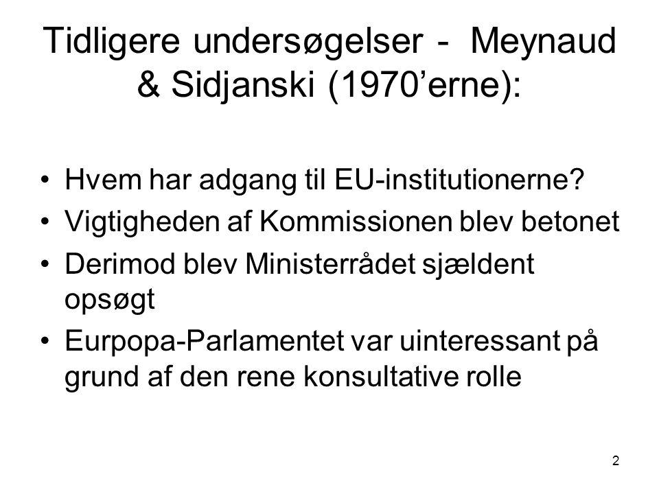 2 Tidligere undersøgelser - Meynaud & Sidjanski (1970'erne): Hvem har adgang til EU-institutionerne.