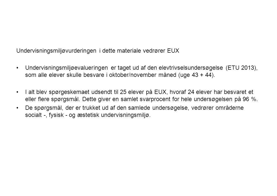 Undervisningsmiljøvurderingen i dette materiale vedrører EUX Undervisningsmiljøevalueringen er taget ud af den elevtrivselsundersøgelse (ETU 2013), som alle elever skulle besvare i oktober/november måned (uge 43 + 44).