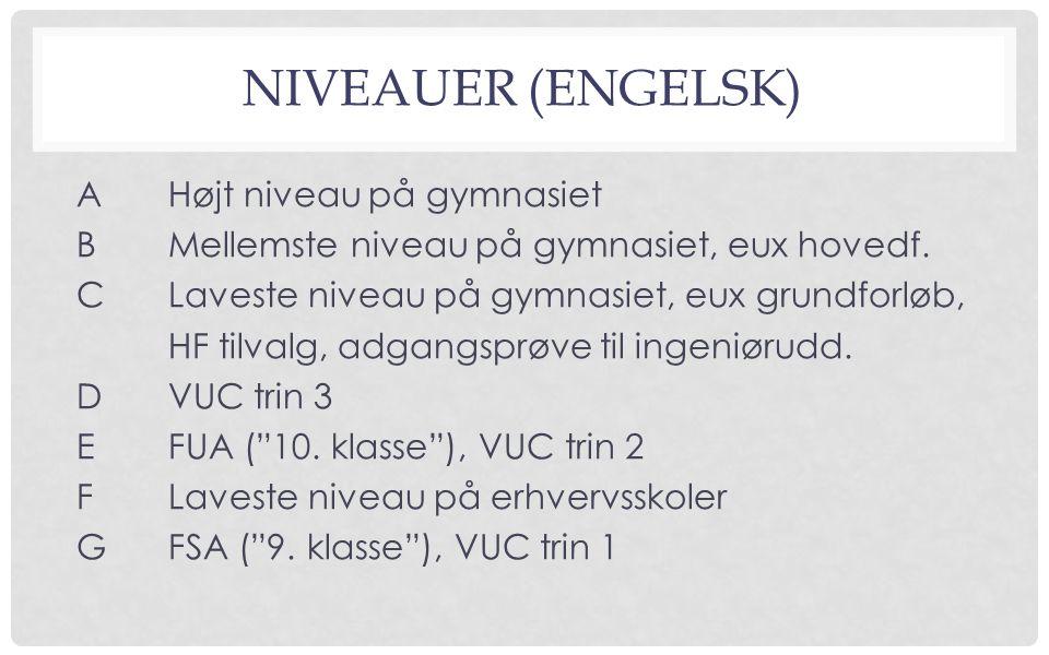 NIVEAUER (ENGELSK) AHøjt niveau på gymnasiet BMellemste niveau på gymnasiet, eux hovedf.