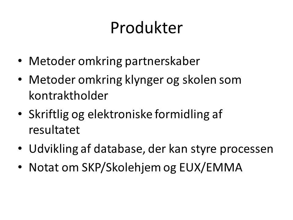 Produkter Metoder omkring partnerskaber Metoder omkring klynger og skolen som kontraktholder Skriftlig og elektroniske formidling af resultatet Udvikling af database, der kan styre processen Notat om SKP/Skolehjem og EUX/EMMA
