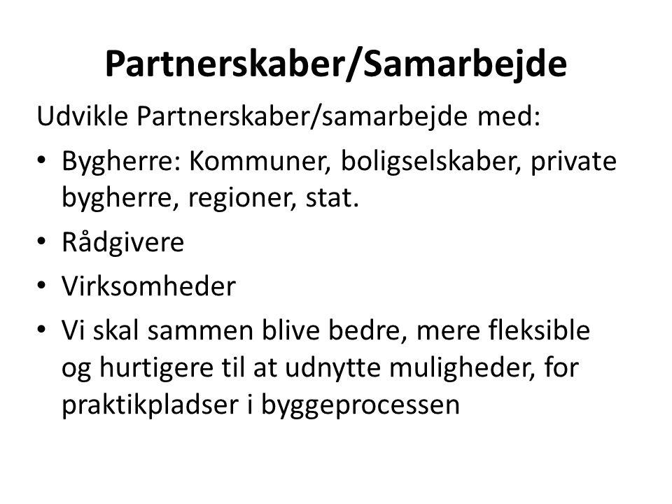 Partnerskaber/Samarbejde Udvikle Partnerskaber/samarbejde med: Bygherre: Kommuner, boligselskaber, private bygherre, regioner, stat.
