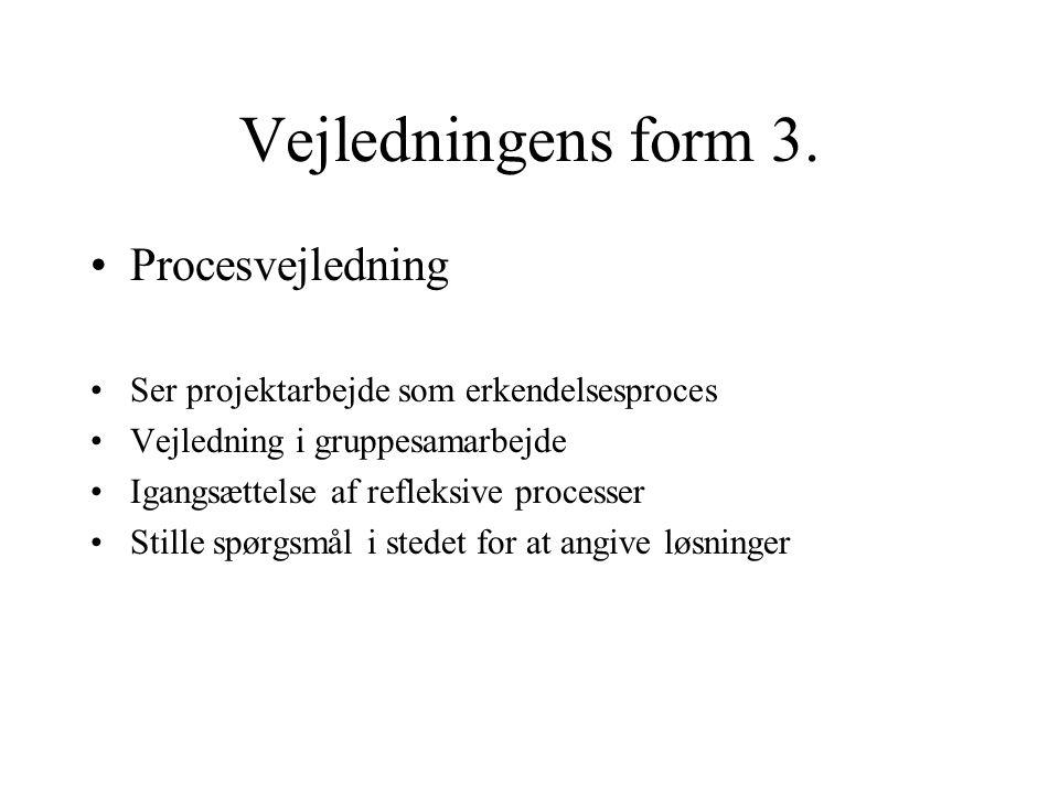 Vejledningens form 3. Procesvejledning Ser projektarbejde som erkendelsesproces Vejledning i gruppesamarbejde Igangsættelse af refleksive processer St