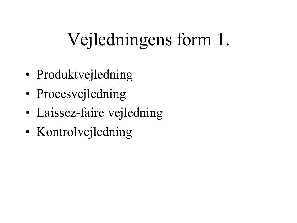 Vejledningens form 1. Produktvejledning Procesvejledning Laissez-faire vejledning Kontrolvejledning