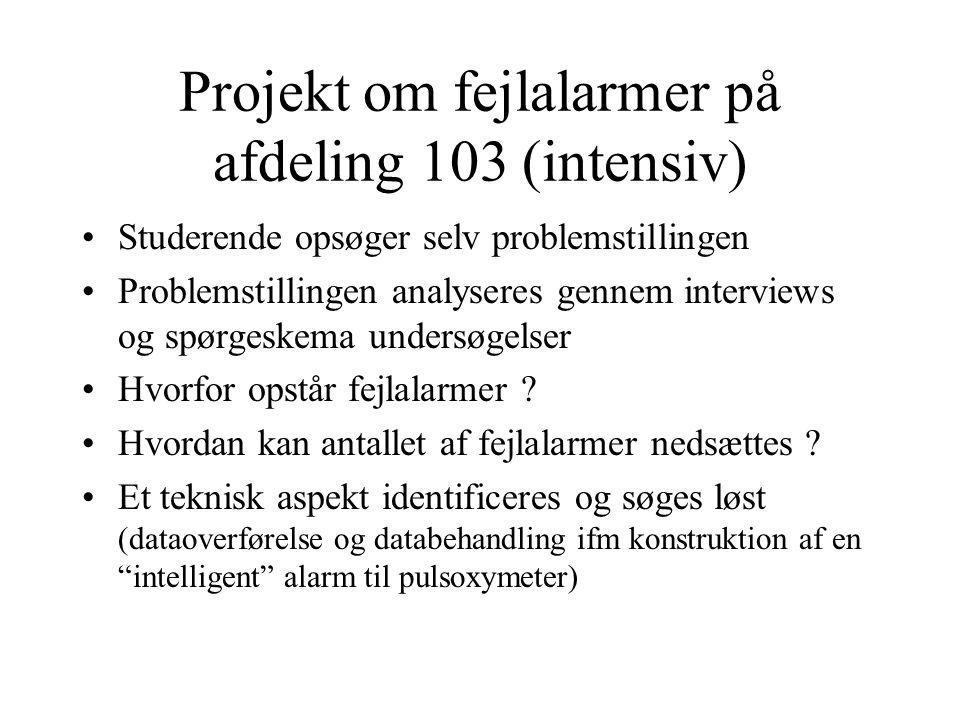 Projekt om fejlalarmer på afdeling 103 (intensiv) Studerende opsøger selv problemstillingen Problemstillingen analyseres gennem interviews og spørgeskema undersøgelser Hvorfor opstår fejlalarmer .