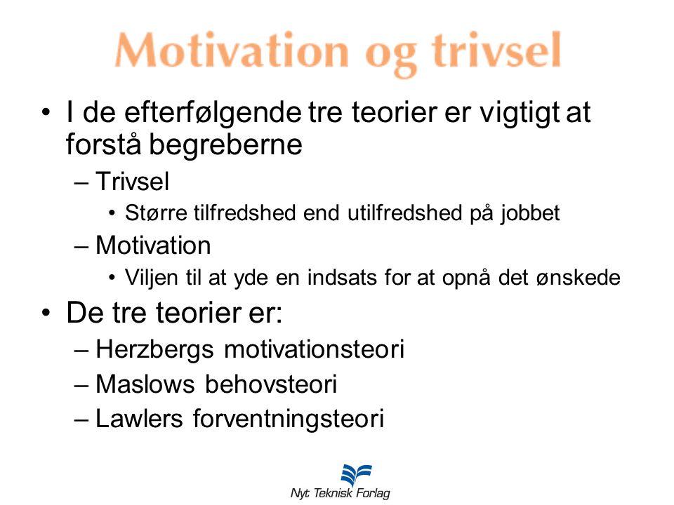 I de efterfølgende tre teorier er vigtigt at forstå begreberne –Trivsel Større tilfredshed end utilfredshed på jobbet –Motivation Viljen til at yde en indsats for at opnå det ønskede De tre teorier er: –Herzbergs motivationsteori –Maslows behovsteori –Lawlers forventningsteori