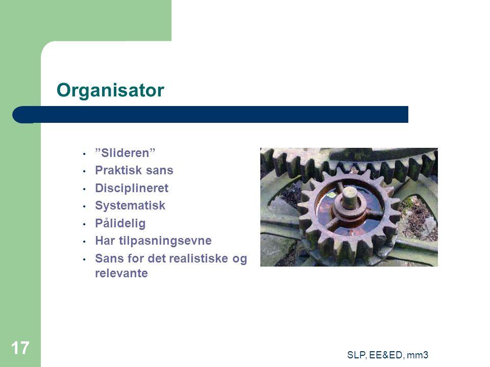 SLP, EE&ED, mm3 17 Organisator Slideren Praktisk sans Disciplineret Systematisk Pålidelig Har tilpasningsevne Sans for det realistiske og relevante