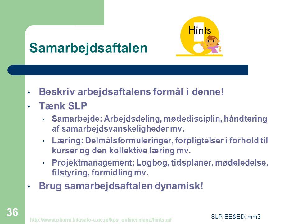 SLP, EE&ED, mm3 36 Samarbejdsaftalen Beskriv arbejdsaftalens formål i denne.