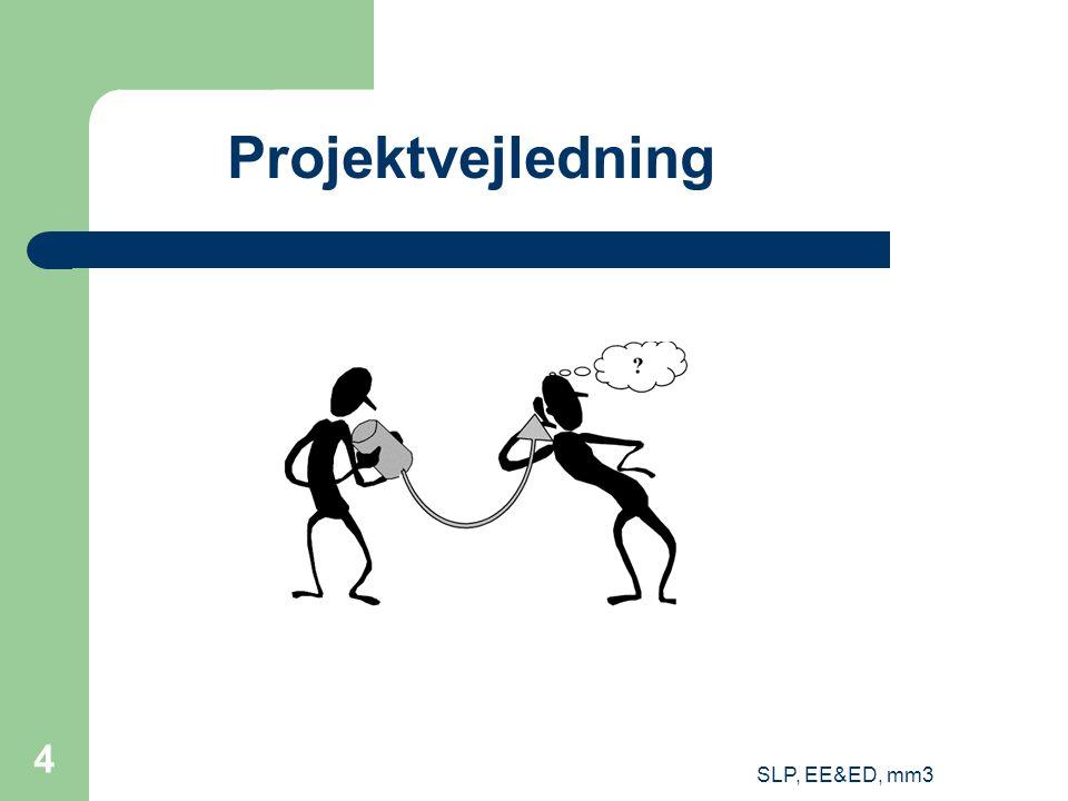 SLP, EE&ED, mm3 5 Vejledningens indhold To typer af indhold i vejledningen: Problemorienteret vejledning Fagorienteret vejledning PROBLEM Relevant anvendelse af faget FAG Teorier Metoder