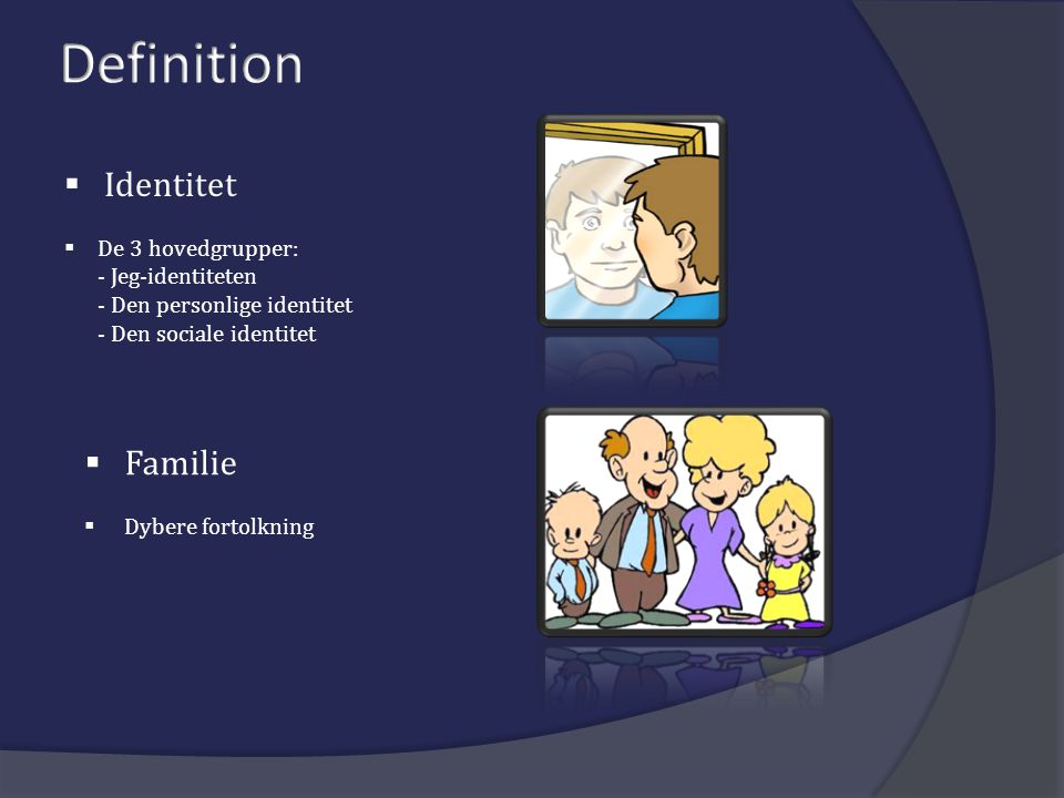  Identitet  De 3 hovedgrupper: - Jeg-identiteten - Den personlige identitet - Den sociale identitet  Familie  Dybere fortolkning