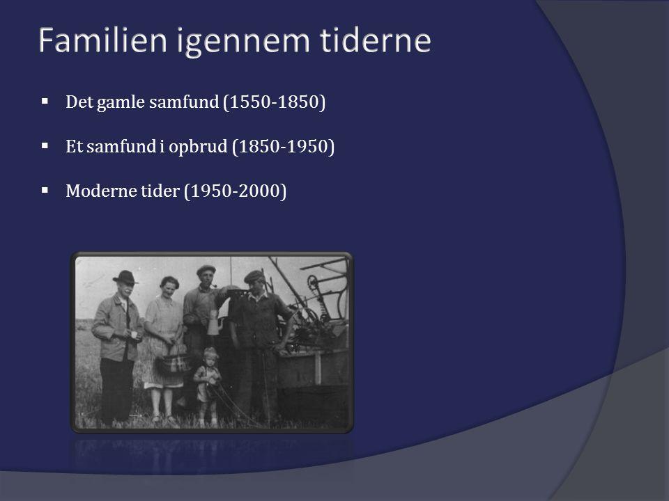  Det gamle samfund (1550-1850)  Et samfund i opbrud (1850-1950)  Moderne tider (1950-2000)