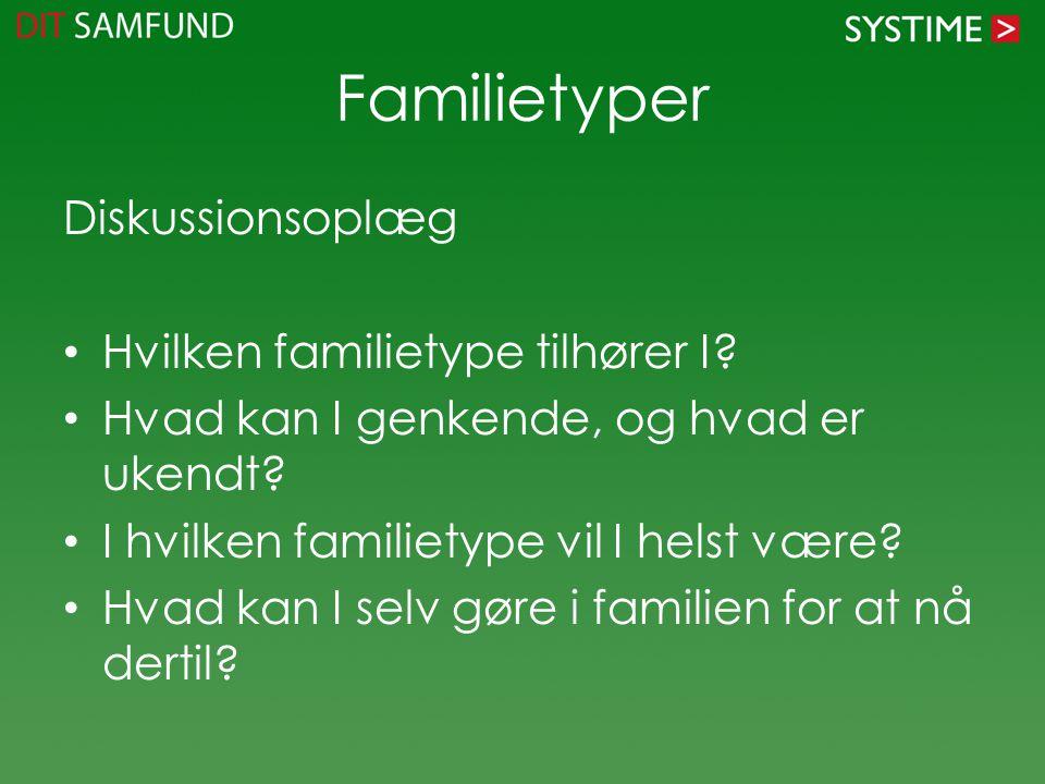 Familietyper Diskussionsoplæg Hvilken familietype tilhører I.