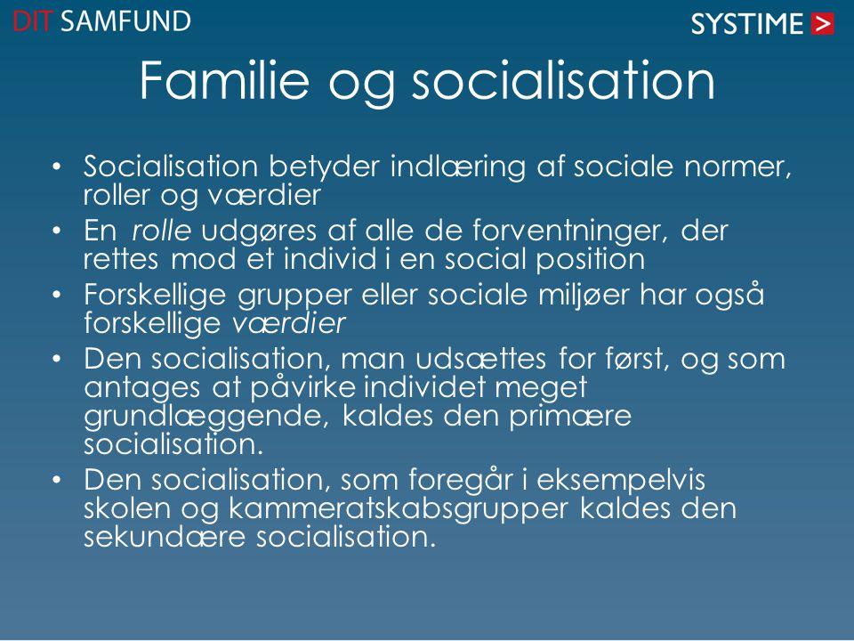 Familie og socialisation Socialisation betyder indlæring af sociale normer, roller og værdier En rolle udgøres af alle de forventninger, der rettes mod et individ i en social position Forskellige grupper eller sociale miljøer har også forskellige værdier Den socialisation, man udsættes for først, og som antages at påvirke individet meget grundlæggende, kaldes den primære socialisation.