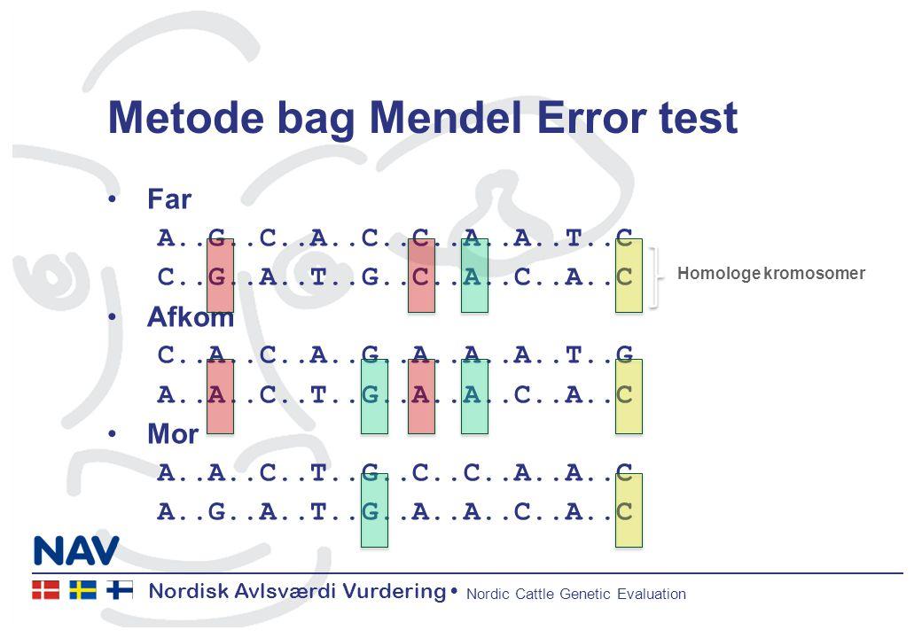 Nordisk Avlsværdi Vurdering Nordic Cattle Genetic Evaluation Metode bag Mendel Error test Far A..G..C..A..C..C..A..A..T..C C..G..A..T..G..C..A..C..A..C Afkom C..A..C..A..G..A..A..A..T..G A..A..C..T..G..A..A..C..A..C Mor A..A..C..T..G..C..C..A..A..C A..G..A..T..G..A..A..C..A..C Homologe kromosomer