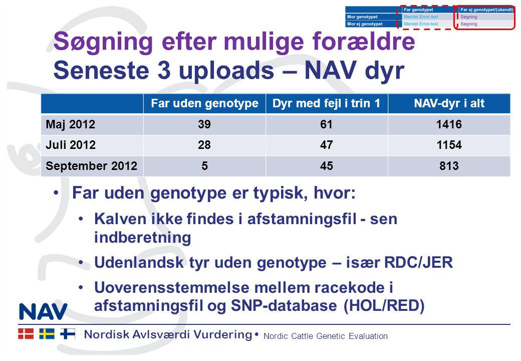 Nordisk Avlsværdi Vurdering Nordic Cattle Genetic Evaluation Søgning efter mulige forældre Seneste 3 uploads – NAV dyr Far uden genotype er typisk, hvor: Kalven ikke findes i afstamningsfil - sen indberetning Udenlandsk tyr uden genotype – især RDC/JER Uoverensstemmelse mellem racekode i afstamningsfil og SNP-database (HOL/RED) Far uden genotypeDyr med fejl i trin 1NAV-dyr i alt Maj 201239611416 Juli 201228471154 September 2012545813