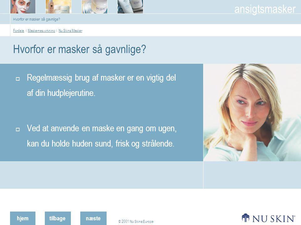 hjemtilbage © 2001 Nu Skin ® Europe ansigtsmasker næste Hvorfor er masker så gavnlige.