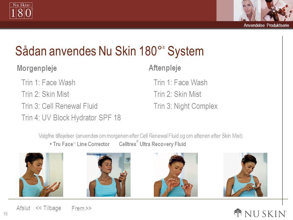 Afslut Frem >> << Tilbage  Anvendelse Anvendelse  Produktserie Produktserie 15 Sådan anvendes Nu Skin 180° ® System Morgenpleje Aftenpleje Trin 1: Face Wash Trin 2: Skin Mist Trin 3: Cell Renewal Fluid Trin 4: UV Block Hydrator SPF 18 Trin 1: Face Wash Trin 2: Skin Mist Trin 3: Night Complex Valgfrie tilføjelser (anvendes om morgenen efter Cell Renewal Fluid og om aftenen efter Skin Mist):  Tru Face TM Line Corrector Celltrex ® Ultra Recovery Fluid