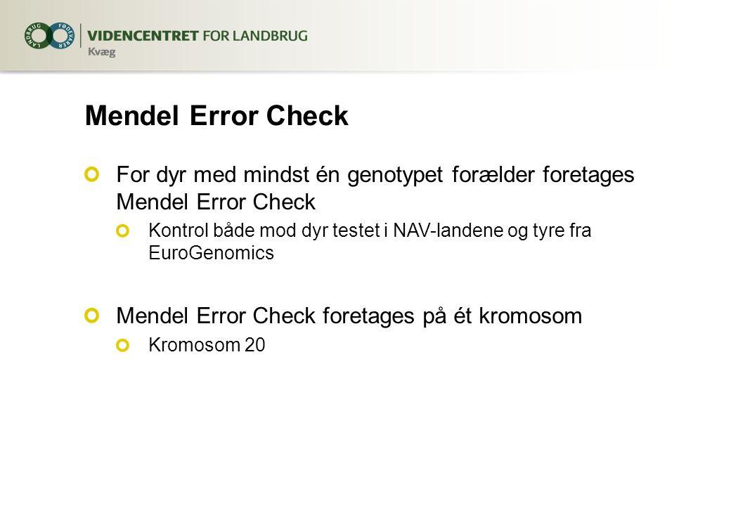 Mendel Error Check For dyr med mindst én genotypet forælder foretages Mendel Error Check Kontrol både mod dyr testet i NAV-landene og tyre fra EuroGenomics Mendel Error Check foretages på ét kromosom Kromosom 20