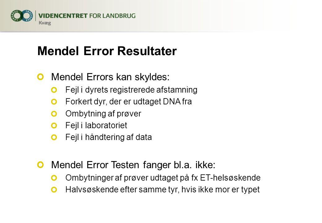 Mendel Error Resultater Mendel Errors kan skyldes: Fejl i dyrets registrerede afstamning Forkert dyr, der er udtaget DNA fra Ombytning af prøver Fejl i laboratoriet Fejl i håndtering af data Mendel Error Testen fanger bl.a.